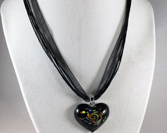 Black Organza Ribbon Necklace With Foil Glass Pendant