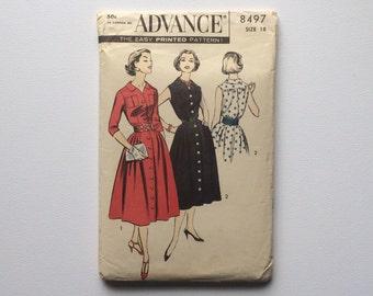 FF B38 1960s Shirt Dress Sewing Pattern : Advance 8497