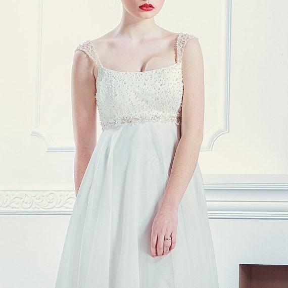 Elegant Wedding Dress Open Back : Elegant wedding dress pearl bridal gown open back modest