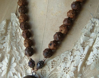 Reconstructed Victorian Vulcanite Mourning Hair Photo Locket Assemblage Necklace Carved Wood Eye Prayer Beads Memento Mori Rustic Assemblage