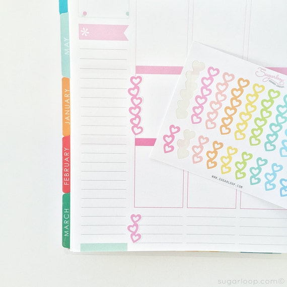 20 Heart checklist stickers, planner stickers, color choices, meal plan, to do, tasks, chores, errands, exercise, rainbow colors, CHK6