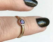 Vintage Gold and Garnet Ring 10k Gold, Deep Red Faceted Gemstone, Flat Cut Almandine, Smooth Simple Band, Antique Georgian Victorian, Size 5