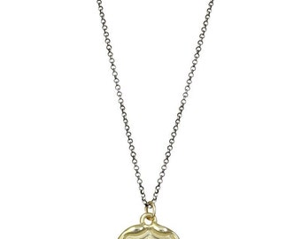 10kt Gold Wolf Crest Wax Seal Necklace in Latin Dum Spiro Spero - While I Breathe I Hope - 198-10K