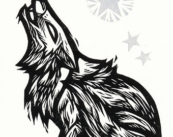 """Hand-pulled Linocut - """"Coyote Song"""""""