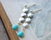 Turquoise earrings, sterling silver long post earrings, sleeping beauty arizona