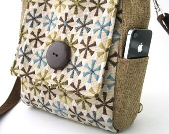 purse backpack converts to messenger, crossbody bag, womens backpack, floral purse, womens handbag, over the shoulder bag