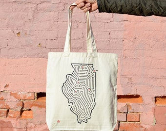 Illinois Map/Maze Tote Bag | Locally Screen Printed on Sturdy Cotton Canvas Twill Bags | Chicago/Springfield/Champaign/Peoria