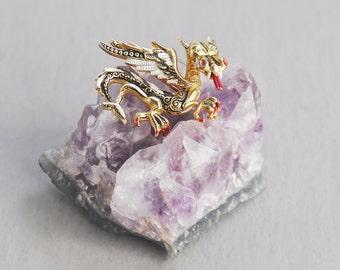 Vintage Dragon Brooch - Spanish damascene gold tone enamel pin - Toledoware winged mythical beast