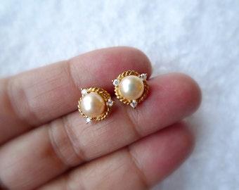 Lorena .  white cultured pearl earrings . GP 14K
