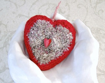 Heart Shaped Ornament - Unique Silk Tapestry Heart Keepsake - Decorative Handmade I Love You Heart - Valentines Day Decor Gift for Her STH01