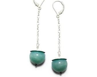 Aqua Blue Earrings - Long Dangle Earrings - Amazonite Gemstone Earrings
