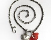 Red Lake Erie Beach Glass Sea Glass Puffy Heart Charm Sterling Silver Wheat Chain Necklace Adjustable Length