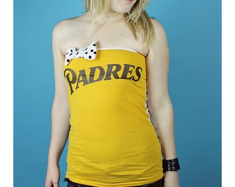 PADRES Tube Top - Padres Tube Top - Handmade San Diego Shirt - Handmade Baseball Shirt - Polka Dot PADRES Shirt