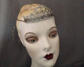 Edwardian ,Teens, 1920s Gatsby Paste, Rhinestone Headband, Headache Band, Headpiece, Bridal Crown