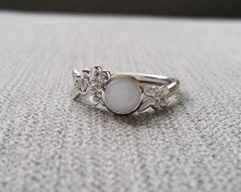 Bezel Low Profile Opal Diamond Engagement Ring Gold Flower Delicate Wedding Bridal Dogwood blossom 14K Gold Cluster Anniversary Branch