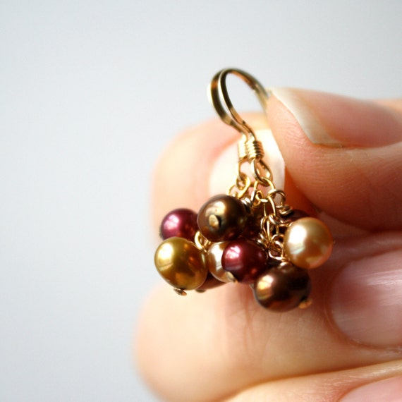 Gold Pearl Earring . Fall Bridal Party Jewelry . Autumn Jewelry Wedding . Brown Pearl Earring . Champagne Pearl Earring - Namaste Collection