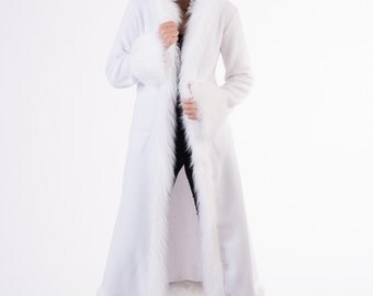 White Faux Fur Baroness Jacket with Hood