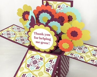 Custom Pop Up Card - Choose Your Greeting - Happy Birthday, Thank You, Teacher, Babysitter, Mother - Flower Explosion Card in a Box
