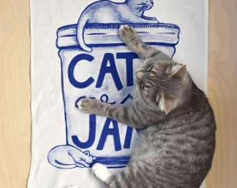 Cat Tea Towel, gift for mom, valentines gift for cat lover, kitchen gifts, funny tea towel kitchen towel gift gourmet women mason jar humor