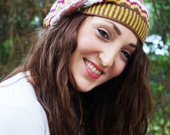 PDF knitting pattern - Chevrons beret hat tam beenie, knitted tam pattern, colorwork knitting, colorful chevrons, women tam