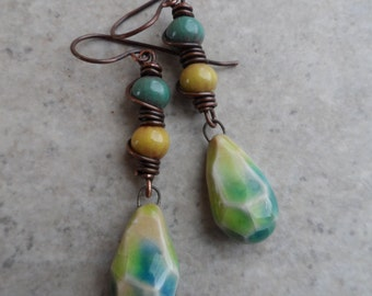 Aquatic Gems ... Faceted Ceramic, Enameled Copper, and Copper Wire-Wrapped Boho, Beachy Earrings