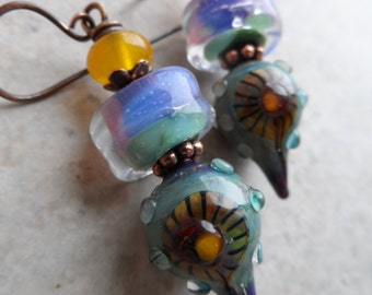 Sunny Skies ... Artisan-Made Lampwork and Copper Wire-Wrapped Rustic, Boho, Floral Earrings