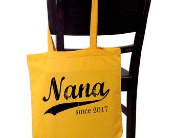 Nana since ANY year, screen print tote bag, grandmother gift, grandma bag, Christmas gift for mom, personalized tote bag