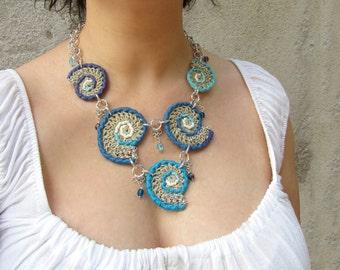 Crochet necklace,hemp necklace,cotton necklace,fiber necklace,boho necklace,folk,gypsy,nautilus,shell,vegan,summer,ethnic,blue,aqua,sea