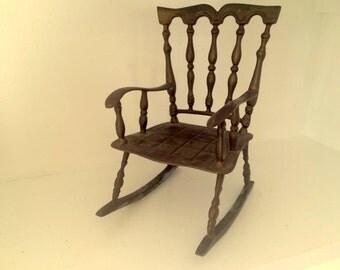 Vintage Solid Brass Child's Rocking Chair Rocker Large