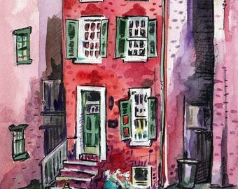 Painting of a Brick House - Original Watercolor Art by Jen Tracy of a Tiny House - Tiny House Painting