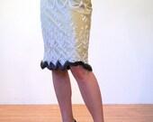 Jaipur Goddess, 90s India Beaded Skirt, Boho Skirt, Fur Trimmed India Skirt, Embroidered Beige Skirt, Glam Skirt, L Large
