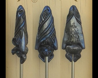 Black Batty Sculpted Hair Stick Polymer Clay Jewelry Animal Art Fantasy Gothic Hair Toy Accessories Bat Goth Vampire Halloween Nocturnal