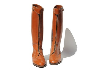 Vintage Topaz Brown Leather Front Zip Tall Riding Boots / size 9.5