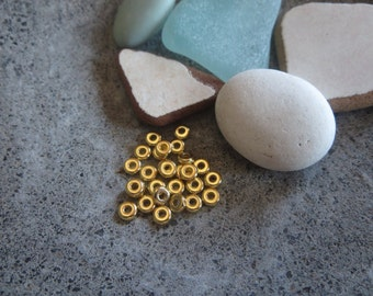 mini pewter heishi disk  beads  , small 4mm rondelle gold plated spacer , metal casting  30 beads / 6aT-0440-25