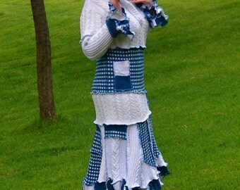 Chilly Water Wool Free frankensweater dress, size 16 upcycled recycled knit dress 96