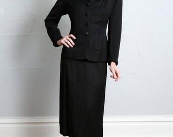 SALE- 1940s Suit 3 Piece Set . Blazer Skirt & Blouse
