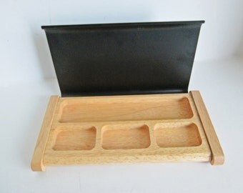 Vintage Desk Tray Organizer, Hinged Metal Lid, covered case, office paper clip, pencils, postage stamps jewelry valet tray this and that box
