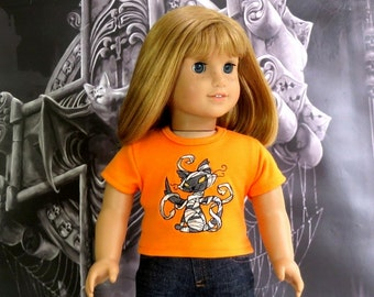 18 inch Doll Halloween Tee Shirt, American made, Girl Doll Clothes Kitty Mummy Shirt