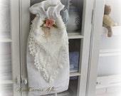 Keepsake Gift Bag made from Fine Vintage Linens, Project Bag, Knitting Bag, Baby Christening