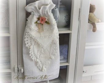 Keepsake Gift Bag made from Fine Vintage Linens Fully Lined to Pass Down in Family Special Baby Gift