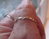 Twist Wave Rope two tone stack ring/ thumb ring 2.2 mm in sterling silver and 14k yellow or rose gold
