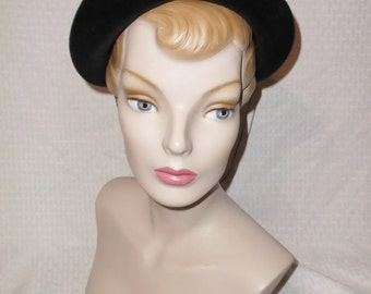 1950s Vintage Black Velour Hat with Aurora Borealis Rhinestone Swirls