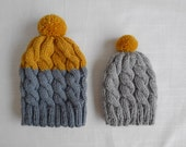 Baby Beanie, Newborn gift, Grey Yellow pompom, Wool beanie