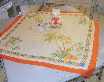 Vintage Tablecloth Colorful Desert Oasis Palm Trees