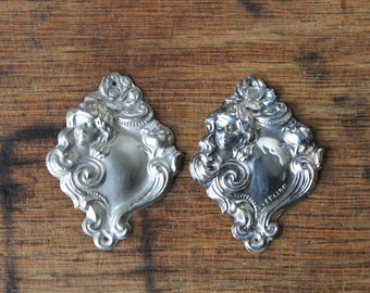 Sterling Art Nouveau Stamping, Assemblage Supplies, Pair of Ladies, Silver Jewelry Findings