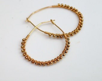 Big Gold Filled Hoops Bound with Gold Filled Wire and Beads, Everyday Gold Hoops, Hand forged, Light and Easy to Wear, Ready to Ship