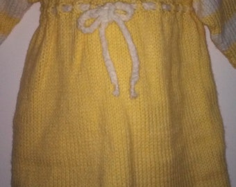Hand Knit Infant Two-Tone Dress with diamond edge, 3/4 length sleeve, size 18 months, back buttoned closure,