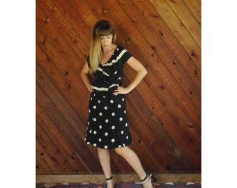 Silk Polka Dot Midi Calf Dress - Vtg 80s 90s - S/M