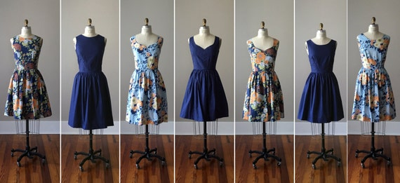 Floral Bridesmaid Dresses / Handmade / Floral / Custom / Wedding / Rustic / Mismatched / Bridesmaids / Vintage Inspired Dress