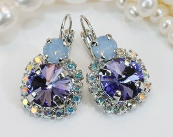 Purple Swarovski Crystal Earrings Purple Drop Earrings Purple Wedding Bridesmaids Gift Tanzanite AB  Halo Earrings,Silver,Tanzanite,SE102